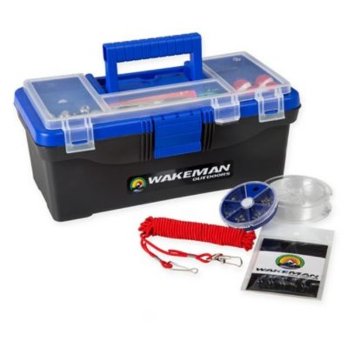 Wakeman 55-Piece Tackle Kit with Single Tray Tackle Box in Bold Blue