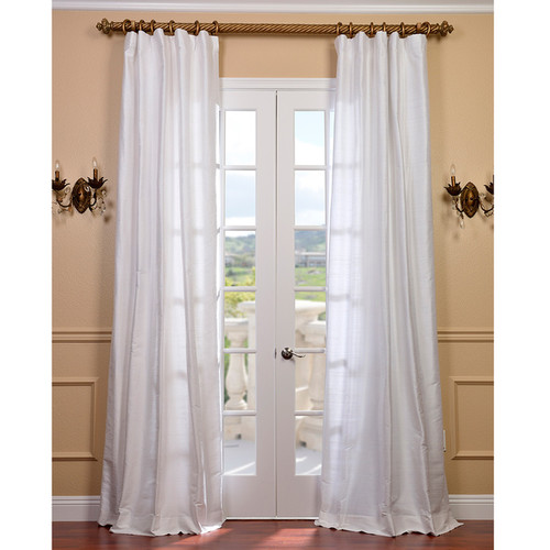 Signature Lily White Textured Silk Curtain Panel