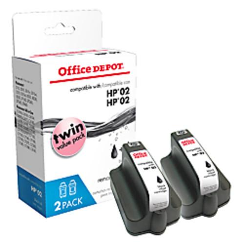 Office Depot Brand OD02K-2 (HP 02) Remanufactured Black Ink Cartridges, Pack Of 2
