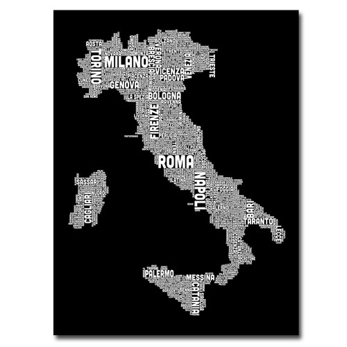 Trademark Global Michael Tompsett 'Italy City Map I' Canvas Art [Overall Dimensions : 18x24]