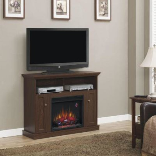 Hampton Bay Charles Mill 46 in. Convertible Media Console Electric Fireplace in Walnut