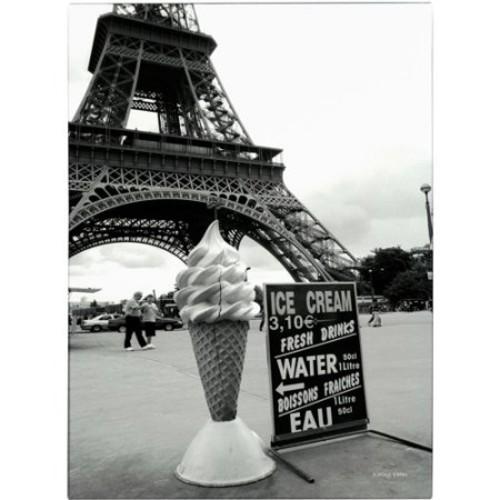Eiffel Tower with Ice Cream Cone by Kathy Yates, 16x24-Inch Canvas Wall Art [16 x 24 Inch]