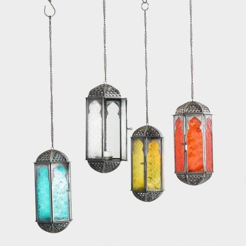 Embossed Glass Hanging Lantern