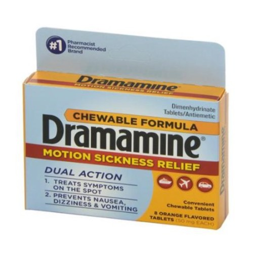 Dramamine Motion Sickness Relief Chewable Tablets 8 ea (Pack of 2)