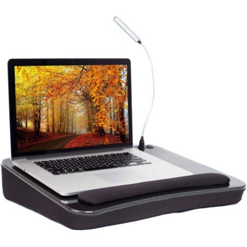 Sofia+Sam Memory Foam Lap Desk with USB Light and Wrist Rest, Black