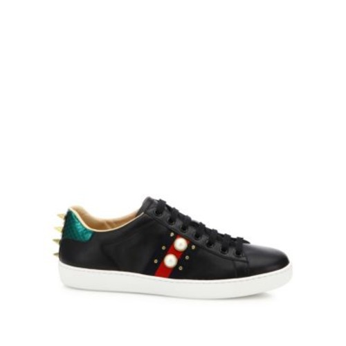 GUCCI Ace Studded Leather Low-Top Sneakers