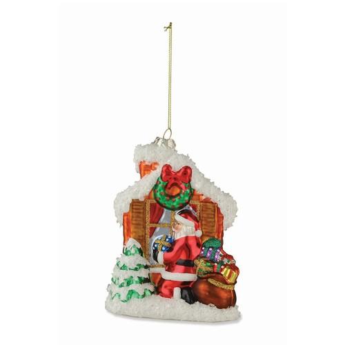 Santa at Window Ornament