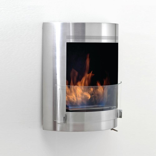Malibu 19 in. Ethanol Wall Mounted Fireplace in Stainless Steel