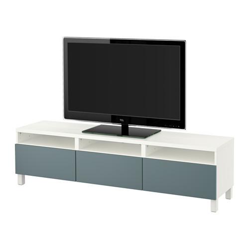 BEST TV unit with drawers, walnut effect light gray, Lappviken white [drawer : drawer runner, soft-closing]