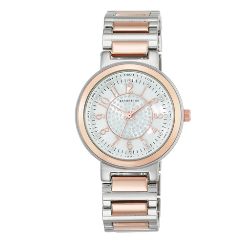 Attention Ladies Two Tone Rose Bracelet with Crystal Bezel Watch