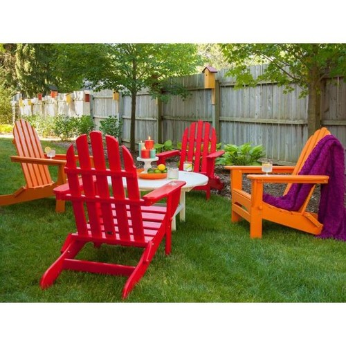 POLYWOOD Classic Sunset Red/Tangerine 5-Piece Folding Adirondack Patio Conversation Group Set