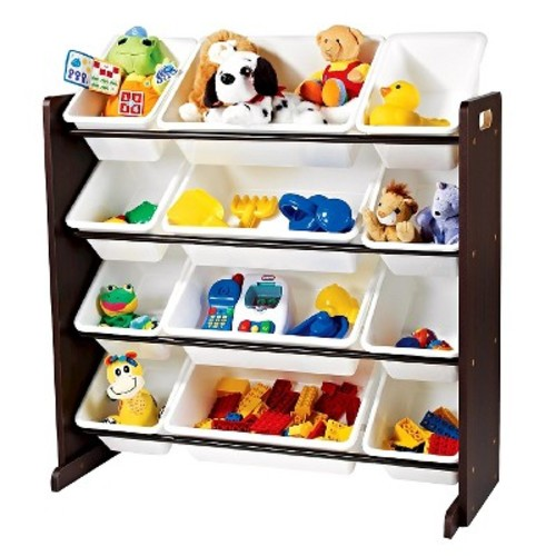 Tot Tutors Kids' Toy Storage Organizer with 12 Plastic Bins, Espresso/White (Espresso Collection)