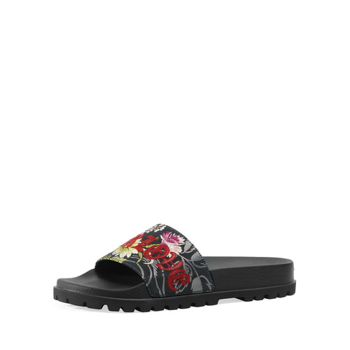 GUCCI Pursuit Treck Floral Jacquard Slide Sandal, Multicolor