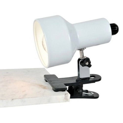 Lite Source Clip-On II 1 Light Table Lamp with White Shade - Black