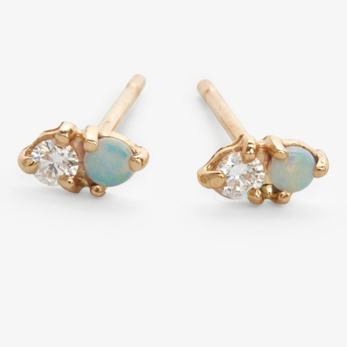 Wwake Opal & Diamond Two Step Stud Earrings G