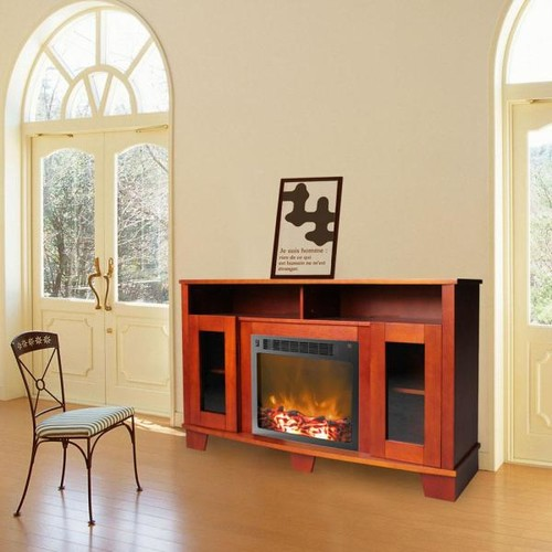 Cambridge Savona 59 in. Cherry Electric Fireplace Mantel with Insert