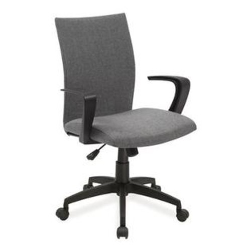 Leick 10115 Apostrophe Office Chair with Caster Base (ATG_10115GR), Grey Linen, Black