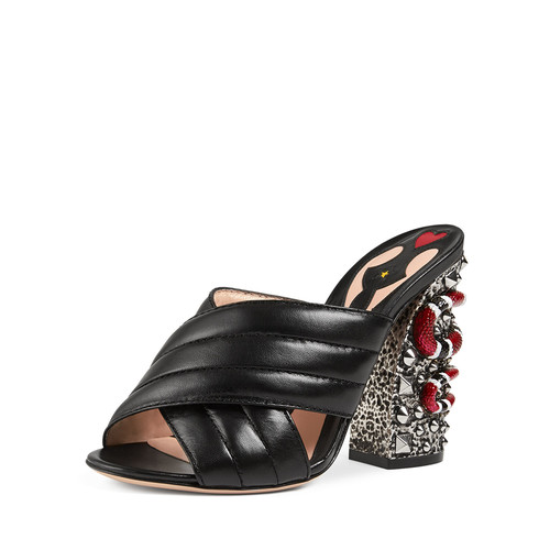 GUCCI Webby Quilted Leather Snake-Heel Mule Sandal, Nero