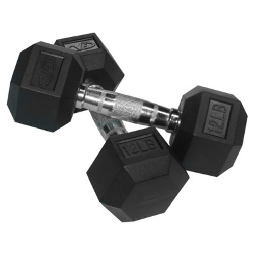Valor Fitness RH Family Rubber Hex Dumbbells [12.0 pounds, 12-Pound]