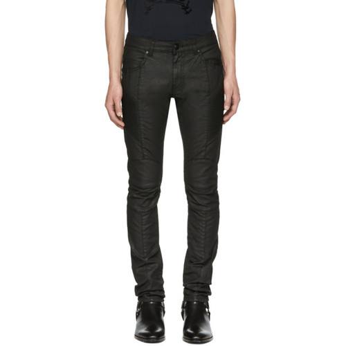 PIERRE BALMAIN Black Coated Biker Jeans