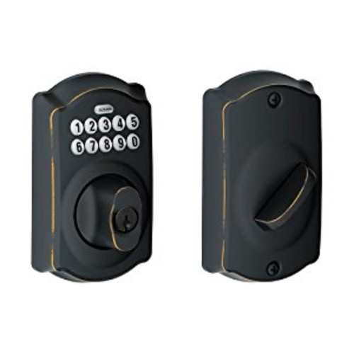 Camelot Single Cylinder Keyless Electronic Deadbolt Finish: Aged Bronze