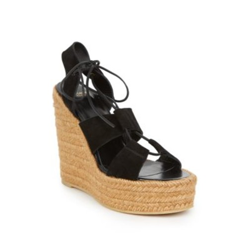 SAINT LAURENT Suede Lace-Up Espadrille Platform Wedge Sandals
