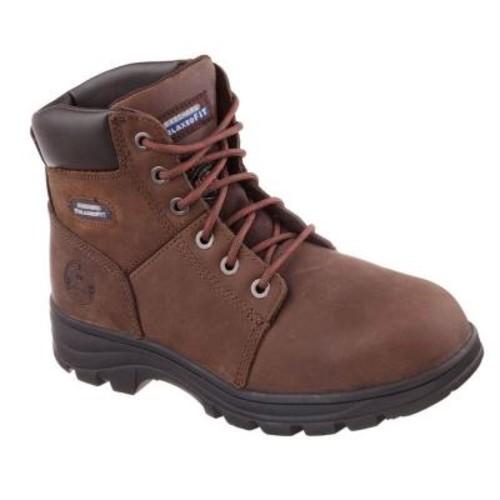 Skechers Workshire Men Size 9 Dark Brown Leather Work Boot