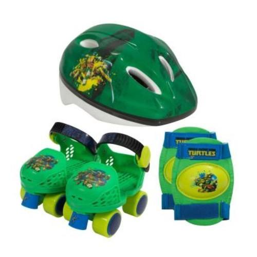 Playwheels Teenage Mutant Ninja Turtles Kids Roller Skates Junior Size 6-12 with Knee Pads and Helmet