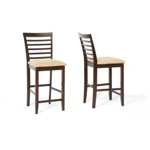 Baxton Studio Kelsey Counter Stools in Cappuccino (Set of 2)
