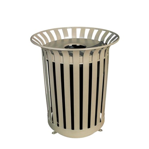 Ultra Play 36 Gal. Lexington Trash Receptacle with Flat Top Lid and Liner Outdoor Trash Can