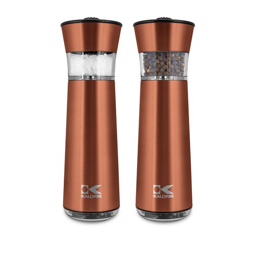 Easy Grind Electric Copper Salt & Pepper Grinders Set