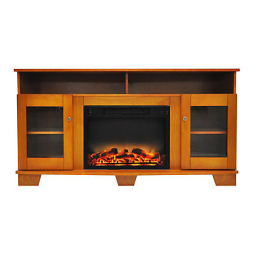 Cambridge Savona Electric Fireplace With Entertainment Stand, Enhanced Log Display, Teak