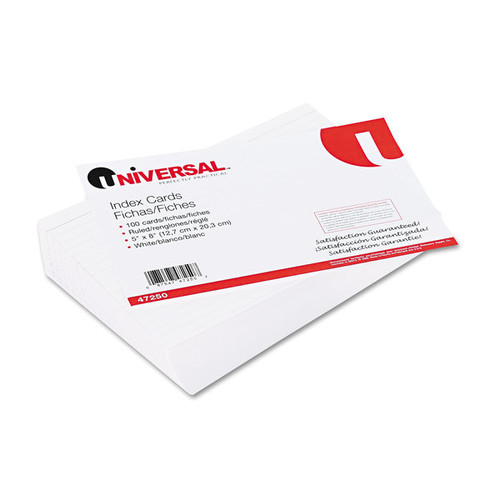 Universal White Ruled Index Cards (10 Packs of 100) - White