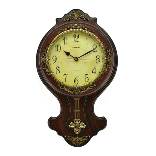 Fabulous Antique Linseng Polyresin Pendulum Wall Clock (21x12)
