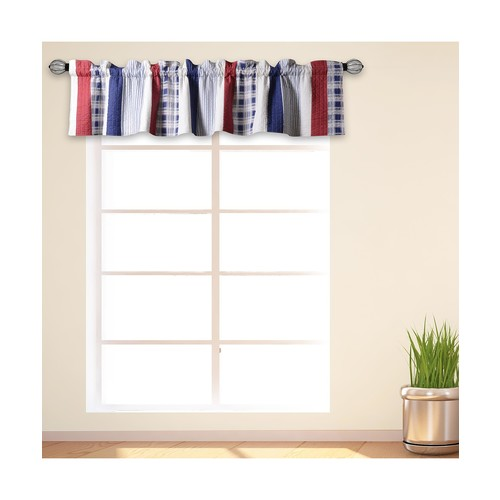 Greenland Home Nautical Stripe Window Valances, Quilted