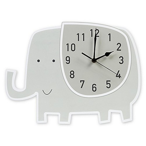 Trend Lab Elephant Wall Clock in Grey/White