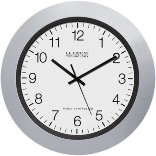 La Crosse Technology 10 in. H Round Atomic Analog Wall Clock in White