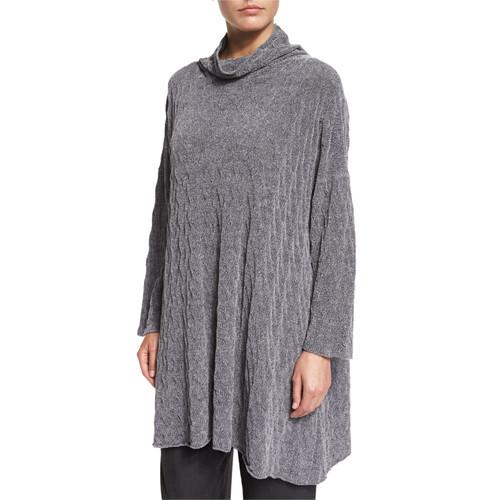 ESKANDAR Knit Cowl-Neck Sweater, Silver
