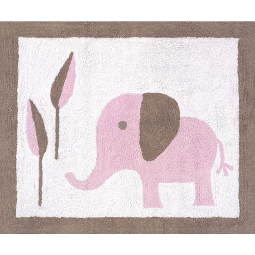 Sweet Jojo Designs Pink and Taupe Mod Elephant Collection Floor Rug