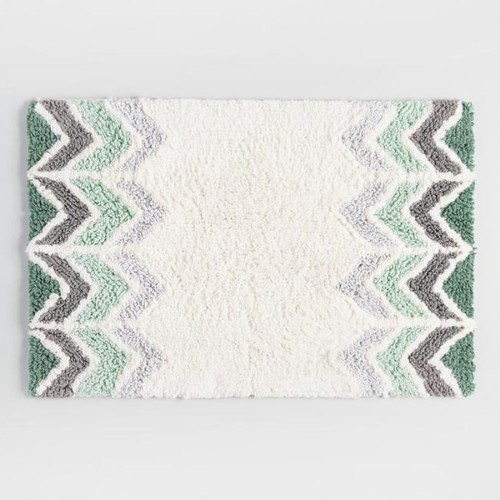 Chinois Green and Ivory Chevron Bath Mat