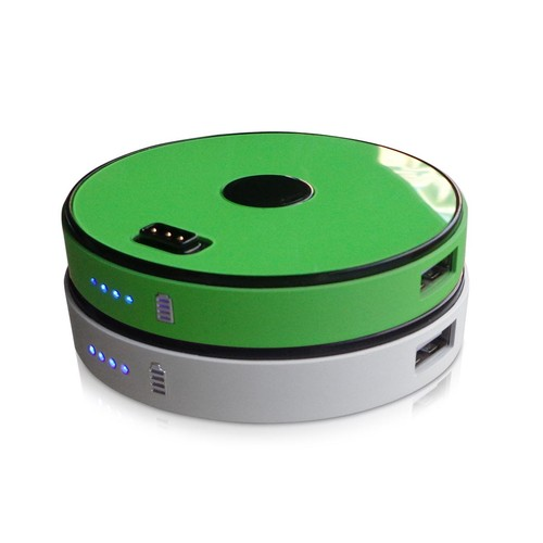 2 Disk Round Stackable 6000 mAh Power Bank-Lime Green/White