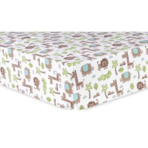 Trend Lab Safari Animals Deluxe Flannel Fitted Crib Sheet in Sage