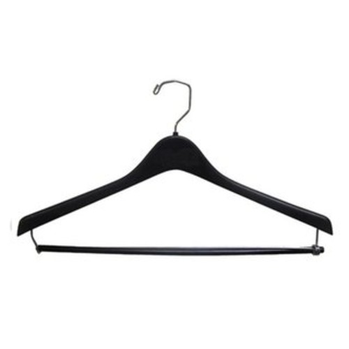 Heavy-Duty Black Plastic Coat Hanger with Locking Pant Bar, Box of 100 1/2 Inch Thick Countoured Hangers with Chrome Hook