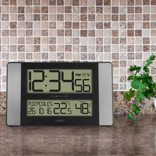La Crosse Technology 11 in. x 7 in. Atomic Digital Clock with Temperature and Humidity in Aluminum Finish