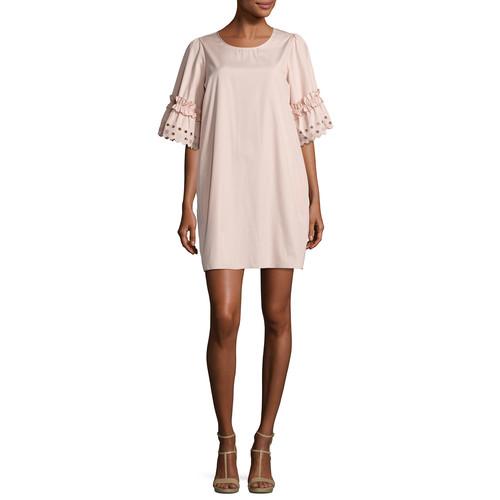 SEE BY CHLOE Eyelet-Sleeve Cotton Shift Dress, Blush