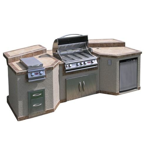 Cal Flame 3-Piece Island with 4-Burner BBQ Grill and Rotisserie