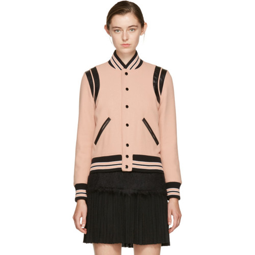 SAINT LAURENT Pink Classic Wool Teddy Bomber Jacket