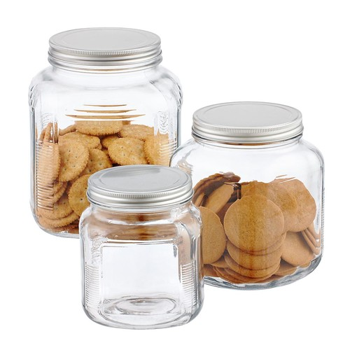 1 gal. Glass Cracker Jar Aluminum Lid