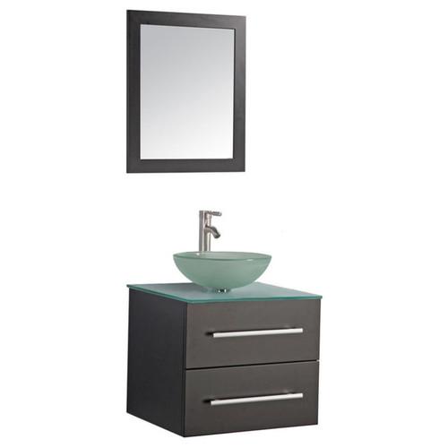 MTD Vanities Cuba 24-inch Single Sink Wall Mounted Bathroom Vanity Set with Mirror and Faucet