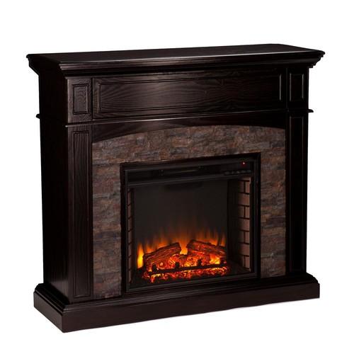 Southern Enterprises Newburgh 45.5 in. W Faux Stone Corner Electric Media Fireplace in Ebony